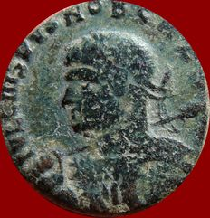Roman Empire - Crispus caesar (317 - 326 A.d.) bronze follis. Trier PTR. BEATA TRANQVILLITAS. Inusual barbarous style, probably an imitative follis minted by barbarian peoples in Gaul or Germany.