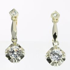 Elegant bicolour gold white sapphire earrings from the fifties. No reserve price!
