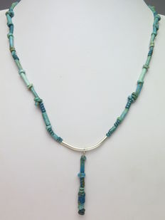 Egyptian decorated necklace of faience beads and silver-plated metal decoration - 56 cm