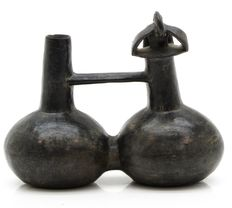 Pre-Columbian whistling vessel with a bird - Chimu culture - 18 cm
