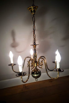 Antique Dutch copper ball chandelier.