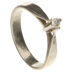 White gold children's ring set with 1 brilliant cut diamond of approx. 0.01 ct