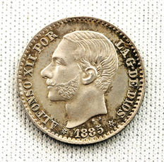 Spain – Alfonso XII – 50 cents silver – 1885 – Madrid