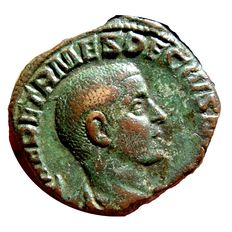 Roman Empire - Herennius Etruscus, as Caesar, (250-251 A.D.) bronze sestertius (17,30 grs. 28 mm.) from Rome, 250 A.D. PRINCIPI IVVENT.