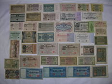 Lot of 40 old German Reich banknotes circa 1920 to 1930