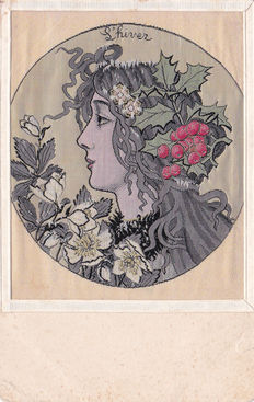 Postcard / mailing silk paper style A.Mucha - 1900-30