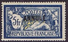 France 1911 – Cours d'instruction 5 f. blue and fawn, overprint A – signed and with Calves and Bolaffi certificates – Yvert #123 CI-1