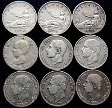 Spain – Provisional Government, Alfonso XII and Alfonso XIII – 9 silver coins of 2 peseta – 1870 to 1892