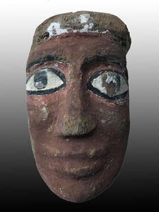 Ancient Egyptian wooden Mummy Mask with red pigment  - 7.5 Inches,