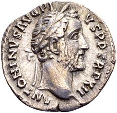 Roman Empire – Silver Denarius of emperor Antoninus Pius 138-161, minted in Rome 148/49