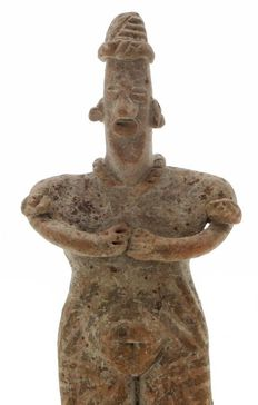 Pre-Columbian woman figure from the Colima culture Mexico including luxurious metal stand - 12.5 cm