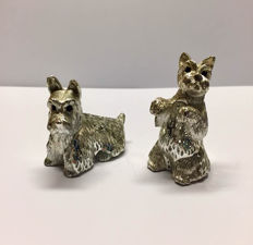 "Christofle ""Lumiere"" Scottish terrier dog figurines"
