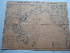 """Third Reich; Old original map, """"The great war map of the Pacific Ocean"""" East Asia, Australia, America, with marked bases, by 1942 2.WW II"""