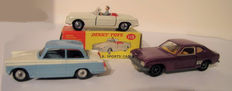 Dinky Toys - Scale 1/43 - Lot with MGB No.113, Ford Capri No.165 and Triumph Herald No.189