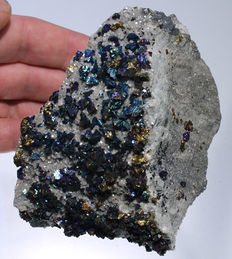 Iridescent Chalcopyrite crystals on Dolomite - Missouri, USA - 10 x 8.5 x 6.5 - 446gm
