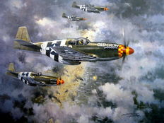 "Fine Art Print  - ""American Patrol"" USAAF P-51 -D-Day june 6th 1944 - Artist Michael Turner"