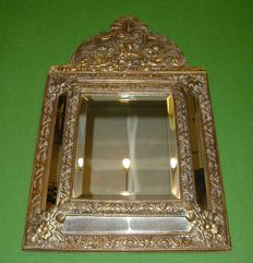 Beautiful antique brass copper mirror - Netherlands - mid to late 19th century