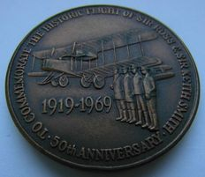 History of Aviation. Big Bronze Medal commemorating to the 50 Years of the First Flight England - Australia, 1919, Sir Ross and Sir Keith Smith.
