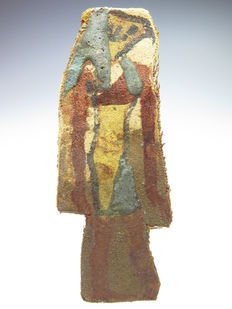 Egyptian decorated linen mummy wrapping with decoration of one of the sons of Horus (Qebehsenuef).