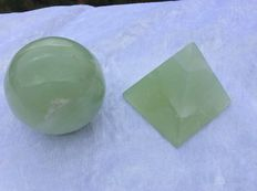 Set of new Jade Sphere and Pyramid - both 60mm -  517gm  (2)