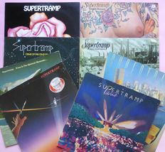 Supertramp, set of 8 albums (9 lp's), including live double Paris and their first two albums Supertramp and Indelibly Stamped, mostly VG+/VG+