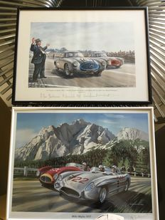 2 original signed lithographs  - Mille Miglia 55 (B. Freudenthal) and 24 hours of Le Mans 52 (Daniel Picot)