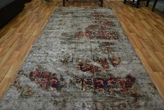 Persian carpet, patchwork carpet, vintage, hand knotted, low pile, modern design