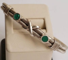 Taxco Mexico Signed TC-121  925 Sterling Silver Malachite Cable Cuff Bangle Bracelet