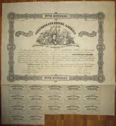 USA - Confederate States of America - 8% Loan (Act of August 19 1861) $500 1862 - Criswell 63