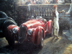 "Art Lithograph - ""Certain Style"" - Alfa Romeo 1935  : Artist Alan Fearnley 2001"