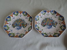 Tichelaar - 2 x wall plates with floral decor