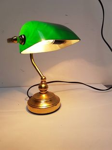 Brass Bankers/Notary lamp with crystal green shade
