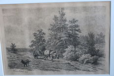 Two etchings of French Lebret (1820-1909) - Boerenkar in landscape - ox cart with farmer figure - both 1908