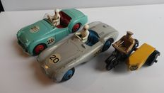 "Dinky Toys - Scale 1/43 - Lot of Aston Martin No.110, Triumph TR2 No.111 and ""AA"" Motorcycle"