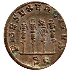 Roman Empire - Philip I (244 - 249 A.D.) bronze sestertius (18,65 g., 30 mm). Rome mint. FIDES EXERCITVS. Three standards and a legionary eagle.