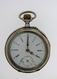 Silver 0.800 Open Face Pocket Watch Swiss 1900