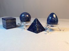 A fine set of hand-polished mini Lapis Lazuli Shapes - 20 to 60mm - 196gm  (4)