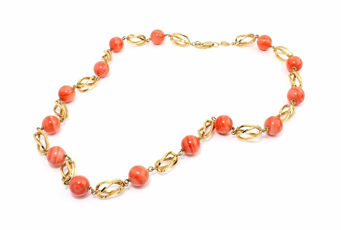 Necklace - 18 kt gold - Coral - Ladies' - Measurement: 50 cm
