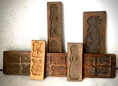 Vintage wooden Speculaas moulding-boards - 5 pieces