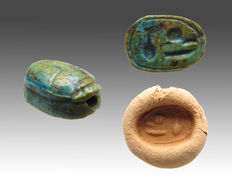 Egyptian faience scarab with hieroglyphs - 12 mm