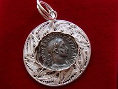 Silver handmade pendant. Original Roman imperial Severus Alexander (222 – 235 A.D.) silver coin inside minted in Rome between 228 – 231 A.D.