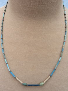 Egyptian necklace with faience beads - 55 cm