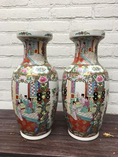 Famille Rosé Canton vases - China - around 1970.