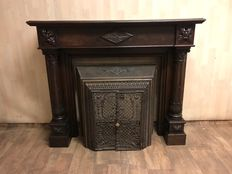 Monumental oak fireplace with crafted columns - France - ca. 1880