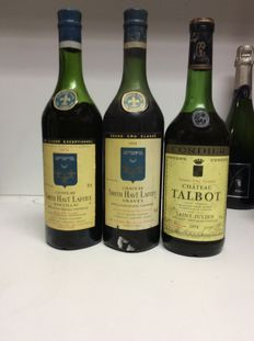 2x 1974 Chateau Smith Haut Lafitte, Grand Cru Clase Pessac-Leognan & 1974 Chateau Talbot, Grand Cru Classe Saint-Julien, France - 3 flessen 0,73l