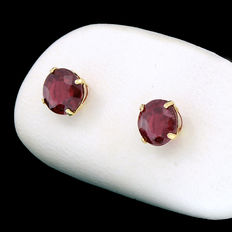 Yellow gold earrings with blood red rubies weighing 2,38 ct