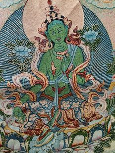 Cotton and silk tapestry depicting Green Tara - Nepal - 21st century