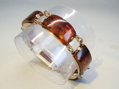 Art Deco amber bracelet with polished honey amber segments