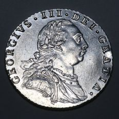 United Kingdom.- 6 Pence 1787 (No hearts in shield) George III - silver