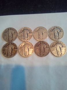 United States - 25 Cents 1926/1930 'Standing Liberty' (8 pieces) – silver